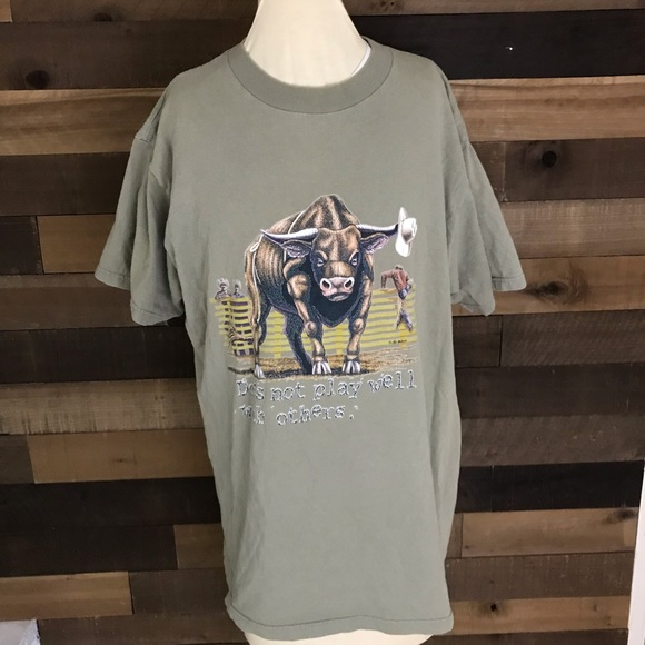 Vintage Shirts Doesnt Play Well With Others Bull Shirt Mens Lg Poshmark